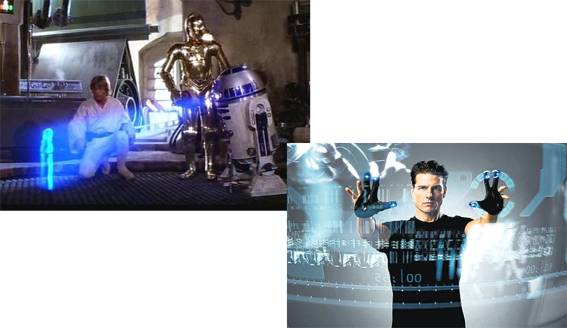 Holograma Star Wars y pantalla Minority Report