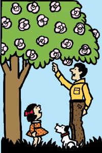 El padre educa a su hija en la naturaleza