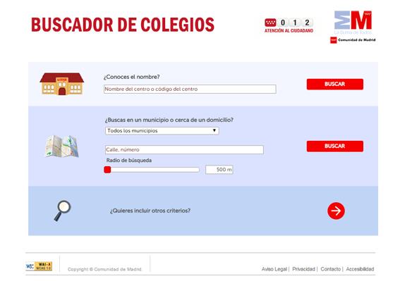 buscador de colegios de la Comunidad de Madrid