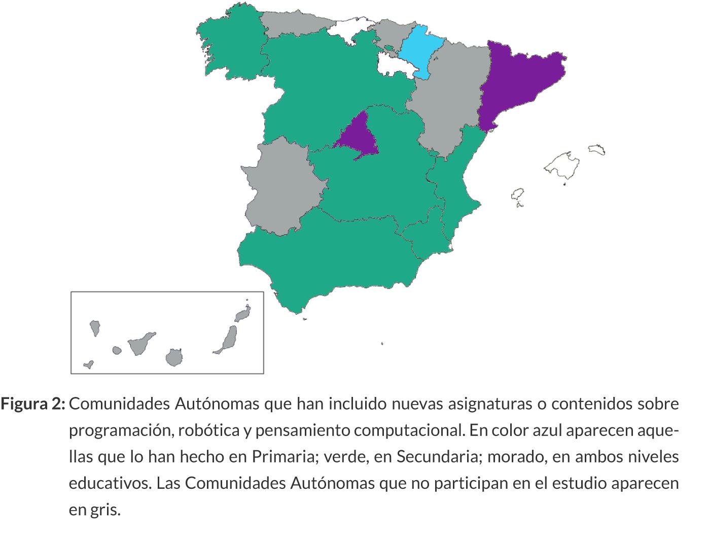comunidades autónomas con asignaturas de robótica y computación