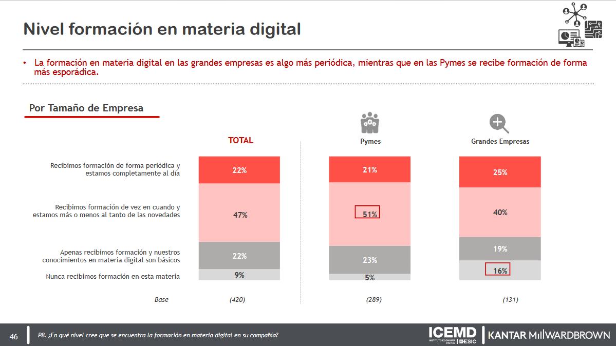 Nivel de formación en materia digital: grandes empresas vs pymes